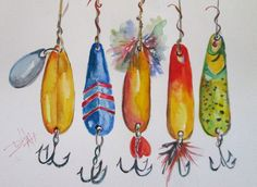 Fishing Lures No.3 Original art painting by Delilah Smith - DailyPainters.com