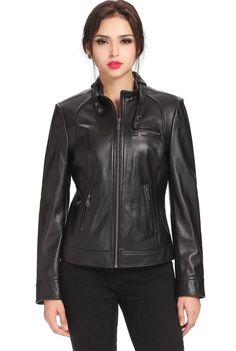 "Cruzer Women's ""Julie"" Cowhide Leather Motorcycle Jacket. Check out this great style for $199.99 on Luxury Lane. Click on the image above to get a coupon code for 10% off on your next order."