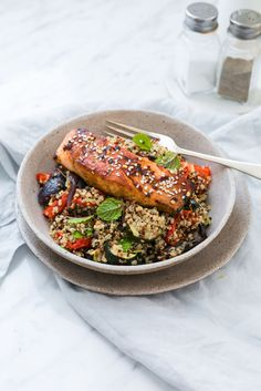 Marinated Salmon With Quinoa and Roast Vegetable Salad