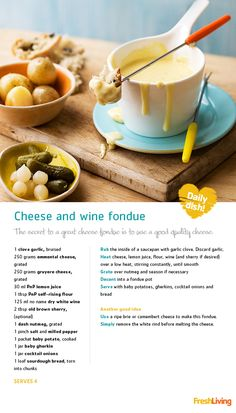 We're still celebrating our cheese specials and we're proud to present a super-fun social starter: and wine (Cheese Fondue) Bacon Cheese Dips, Cheese Dip Recipes, Fondue Recipes, Cheese Platters, Wine Recipes, Food Network Recipes, Yummy Recipes, Wine And Cheese Party, Wine Tasting Party