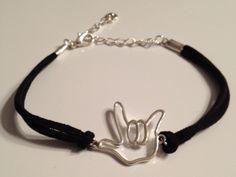 Outline I LOVE YOU hand Bracelet with Black Suede