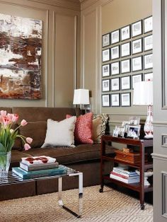 Simple Details: freshen up your old brown sofa...