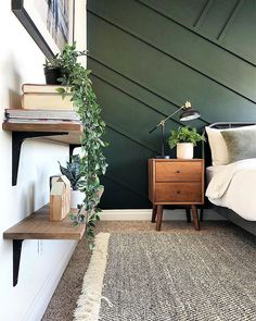 You know I live life on the edge😉. Remember these 75 cent IKEA bracket shelves? If you remember I could not attach these to studs and used… Green Bedroom Walls, Green Master Bedroom, Green Accent Walls, Accent Wall Bedroom, Wood Bedroom, Green Rooms, Bedroom Decor, Walnut Bedroom, Dark Green Walls