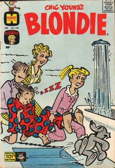 Blondie vintage book #143, February 1961, cover by Chic Young - Dagwood takes a bath.