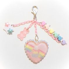 Rainbows and Cupcakes Resin Heart Bag Charm by SugarJunkieShop