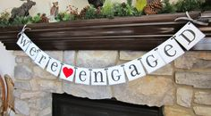 WE'RE ENGAGED banner engagement sign / custom colors / car sign. $22.00, via Etsy.
