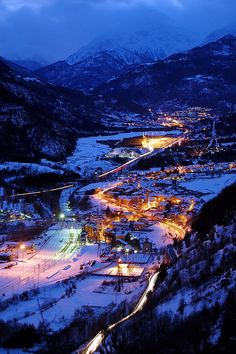 Skiing -Salbertrand, Piedmont, Italy - Night