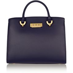 ZAC Zac Posen Eartha Barrel leather tote ($298) ❤ liked on Polyvore featuring bags, handbags, tote bags, bolsas, navy, tote, purse, blue handbags and blue tote bag