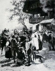 Wilhelm Hasemann: Schellenmarkt der SchwarzwälderHirtenbuben(1885)  abgedruckt: Mein Heimatland 26 (1939), S. 309