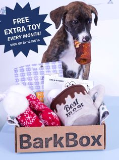 Limited time offer - get a free extra toy every month with a 6 or 12 month subscription! BarkBox is a monthly box of toys, treats, and crazy dog joy. Get started on BarkBox.com. (Free extra toy offer valid through 12/31/16)
