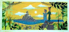"""""""Welcome to Neverland, """"concept art for the 1953 Disney film Peter Pan, by Mary Blair. Mary Blair, Disney Animation, Animation Film, Art Disney, Disney Concept Art, Disney Magic, Punk Disney, Eyvind Earle, Classic Disney Movies"""
