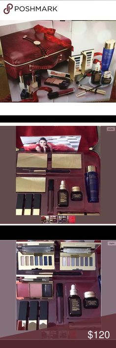 ESTÉE LAUDER 2017 makeup set with Train CAse in BX NEW IN BOX  2017 Estee Lauder 26-Pc. Holiday Blockbuster Set. Includes 12 Full Size Favorites. A $455 Value.  Brand new in original box  SMOKY NOIR LOOK ALSO INCLUDES:   - Pure Color Envy Sculpting Lipsticks in Dynamic, Dominant and Insolent Plum.  - Pure Color Envy Sculpting Gloss in Berry Provocative  - Pure Color Envy Sculpting Blush Palette with shades Pink Kiss and Limited-Edition All Over Shimmer - Advanced Night Repair Face 1oz…