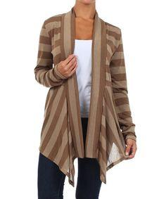 Look what I found on #zulily! Brown Stripe Open Cardigan - Plus #zulilyfinds