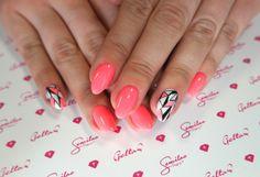 Semilac 033 Pink Doll, Lakier hybrydowy Semi Hardi White, wzór malowany Stylograph Nail Art, #nails, #fluo #neon #spring #semilac