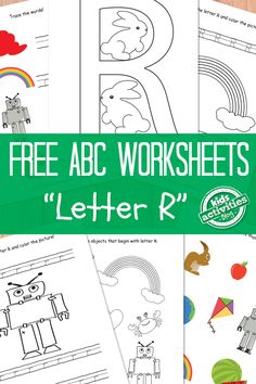 Free worksheets to practice the letter R.  Find the whole alphabet at Kids Activities Blog!