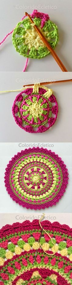We are sharing here free crochet mandala patterns that different from each other in style, geometric patterns and in color schemes! Motif Mandala Crochet, Crochet Circles, Crochet Motifs, Crochet Blocks, Crochet Squares, Crochet Granny, Crochet Doilies, Crochet Flowers, Crochet Patterns