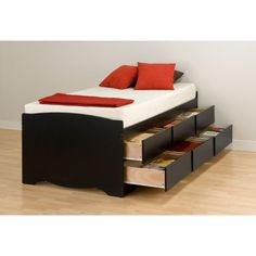 Captainu0027s 6-Drawer Twin Tall Platform Storage Bed in Black  sc 1 st  Pinterest & Sonax Willow Twin Captains Storage Bed with 6 Drawers - Frost White ...