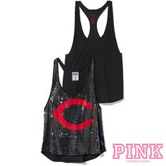 Show off your bling by sporting the Cincinnati Reds Victorias Secret PINK® Bling Racerback Tank. $34.50.