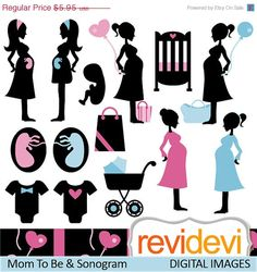 60% OFF SALE Mom To Be and Sonogram 07384.. Silhouette pregnant woman digital clipart.. Commercial use