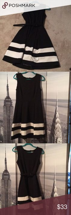 126c60b3c2 Calvin Klein Stripe Hem Fit and Flare Dress A classy choice to wear to work  or to an office party! Belt not included  Calvin Klein Dresses Midi