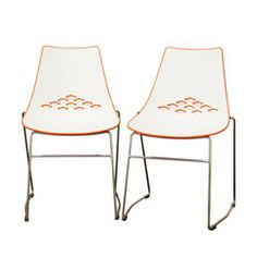 @Overstock - This simple chair is ideal for any contemporary home decor. This set includes two chairs, featuring high quality plastic construction in white and orange hues.http://www.overstock.com/Home-Garden/Jupiter-White-and-Orange-Plastic-Modern-Dining-Chairs-Set-of-2/5810512/product.html?CID=214117 $178.91