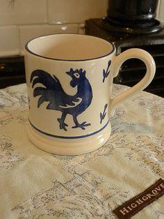 Emma Bridgewater Mark Hearld Half Pint Mug Blue Cockerel and Hen Design