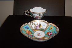 decorative Meissen Quatrefoil cup & saucer