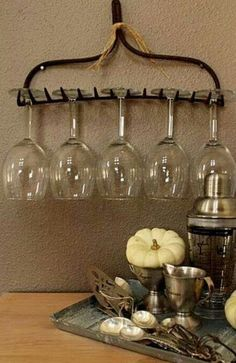 DIY - Garden Rake Wine Glass Holder // #pinaholicmyrie