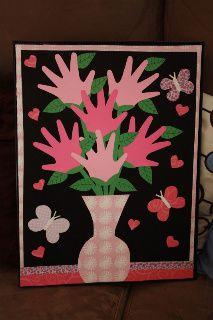 Valentine-  Scrapbook paper and a poster frame. Showcasing kid's handprints as the flowers. Hand Print Flowers, Valentines For Kids, Valentine Day Crafts, Handprint Art, Cute Quilts, Preschool Crafts, Fun Crafts, Crafts For Kids, Holiday Fun