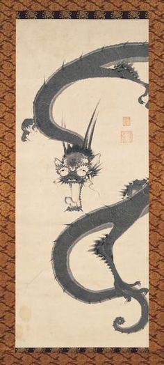 Dragon. Ito Jakuchu. Japanese hanging scroll. Eighteenth c. Miho Museum.