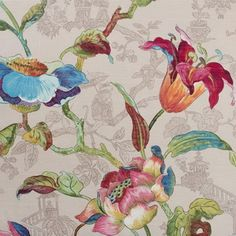 Hamilton Fabrics Lotus Linen & Cotton Drapery Fabric in Multi Printed in England Tapestry Fabric, Tapestry Weaving, Drapery Fabric, Curtains, Chinoiserie, Textiles, Textile Patterns, Floral Fabric, Floral Prints