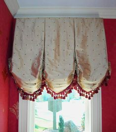 Silk Balloon Valance in Gold and Red in Wallpapered Powder Room Balloon Curtains, Custom Valances, Balloon Valance, Balloon Shades, Elegant Curtains, Window Coverings, Custom Window Treatments, Fabric Decor, Home Decor Fabric