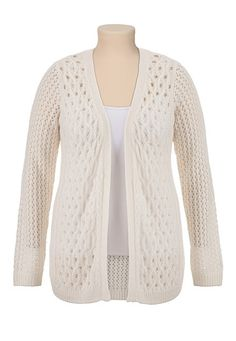 Long Sleeve Pointelle Open Front Cardiwrap (original price, $44) available at #Maurices