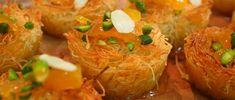 Aprende a preparar esta receta de Kadaif con Ricota, por Osvaldo Gross en elgourmet Tapas, Osvaldo Gross, Grains, Bakery, Rice, Meat, Chicken, Food, Gourmet