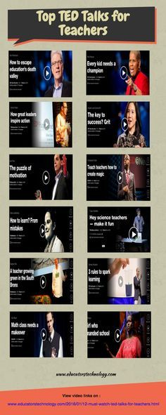 12 Must Watch TED Talks for Teachers ~ Educational Technology and Mobile Learning School Leadership, Educational Leadership, School Counseling, Educational Technology, Teacher Blogs, Teacher Hacks, Teacher Resources, Teaching Strategies, Teaching Tips