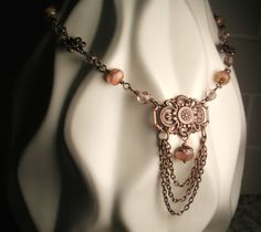 Vintage Victorian Style Antique Copper and Picasso Czech Glass Necklace by TwinFlameDesigns, $26.74. #Handmade, #wire-wrapped, #beaded jewelry.