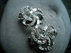 Vintage Earrings in silver tone and clear Rhinestones - Stunning by ALCustomJewelry, $16.00