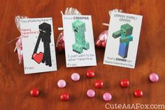 Free printable Minecraft Valentine's Day cards for boys.