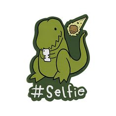 Dino #Selfie Sticker | Hot Topic ($2.39) ❤ liked on Polyvore featuring home, home decor, office accessories und dinosaur stickers