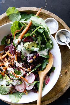 root vegetable + quinoa salad + tahini maple vinaigrette