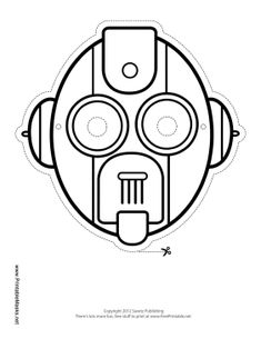 Color in this blank robot mask for your very own custom robot costume. This mask has a slider mouth, round eyes, and bulging ears. Free to download and print