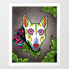 Day of the Dead Bull Terrier Sugar Skull Dog art print by Pretty In Ink.