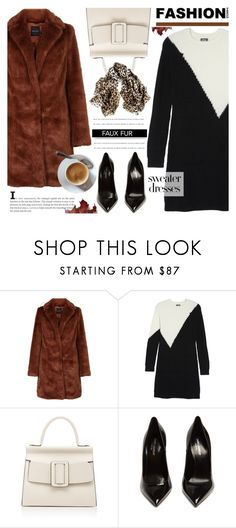 """Sweater dress - Faux fur coat"" by cly88 ❤ liked on Polyvore featuring Vince Camuto, Boyy, Yves Saint Laurent and Black"