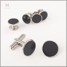 HULBER cufflinks and buttons for black tie shirt Men Accesories, Accessories, Tied Shirt, Black Tie, Cufflinks, Buttons, Knotted Shirt, Wedding Cufflinks, Plugs