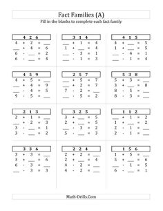 Addition and Subtraction Relationships with Sums to 10 (A) Math Worksheet #freemath