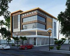 Office Building Plans, Building Front, Building Exterior, Building Facade, Building Design, Futuristic Architecture, Facade Architecture, House Outside Design, House Design