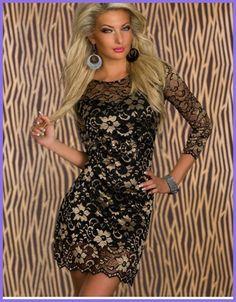 Dream Vine Short Slim Fashion Bodycon Gold Lace Covering Double Club Dress with Lace Sleeves Vestido Sexy Fondo Negro W343249