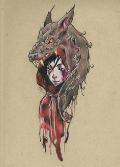 watercolor fairy tale tattoo design red riding hood