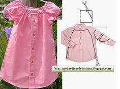Baby Girl Dress Upcycled from Men's Shirt – DIY Kleid Upcycled von Herrenhemd – DIY Shirt Refashion, Diy Shirt, Clothes Refashion, Fashion Kids, Fashion Sewing, Sewing Clothes, Diy Clothes, Remake Clothes, Dress Sewing