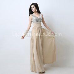 Formal Evening Dress - Champagne Plus Sizes / Petite A-line V-neck Floor-length - USD $69.99